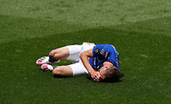 Jamie Vardy of Leicester City takes a breather during the Premier League match at Vicarage Road, Watford. Picture date: 20th June 2020. Picture credit should read: Darren Staples/Sportimage