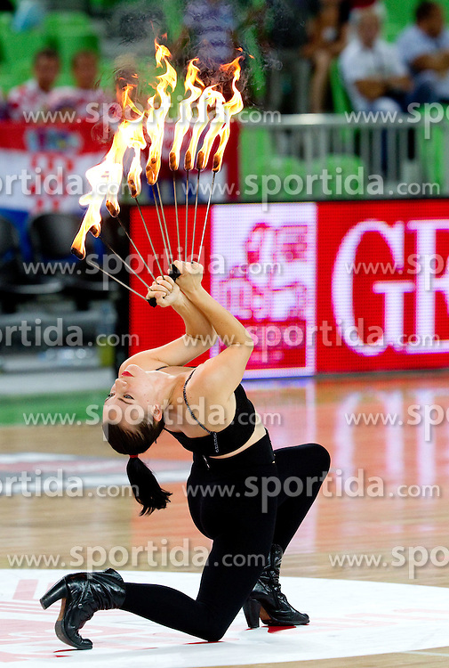 Performers with fire during friendly basketball match between National teams of Croatia and Serbia for first place at Adecco Ex-Yu Cup 2011 as part of exhibition games before European Championship Lithuania 2011, on August 9, 2011, in Arena Stozice, Ljubljana, Slovenia. (Photo by Vid Ponikvar / Sportida)