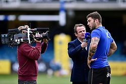 Matt Banahan of Bath Rugby is interviewed for BT Sport by Austin Healey - Mandatory byline: Patrick Khachfe/JMP - 07966 386802 - 17/10/2015 - RUGBY UNION - The Recreation Ground - Bath, England - Bath Rugby v Exeter Chiefs - Aviva Premiership.