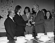 Cake Decoration Awards At Drogheda..1973..02.04.1973..04.03.1973..2nd April 1973..At Drogheda Technical School an award ceremony took place for achievement in cake decoration..Mc'Donnells Foods were the sponsors of the event..Picture of Mr Brendan Flanagan,Sales Manager,Mc'Donnells Foods, presenting the award to John Smith,Patrick Street,Drogheda,who won the Advanced Cake Decorating section of the competition. Also in the picture are Mr Padraig O'Dalaigh CEO, Drogheda Vocational School and Mr Pat Molloy,Area representative,Mc Donnells Foods.