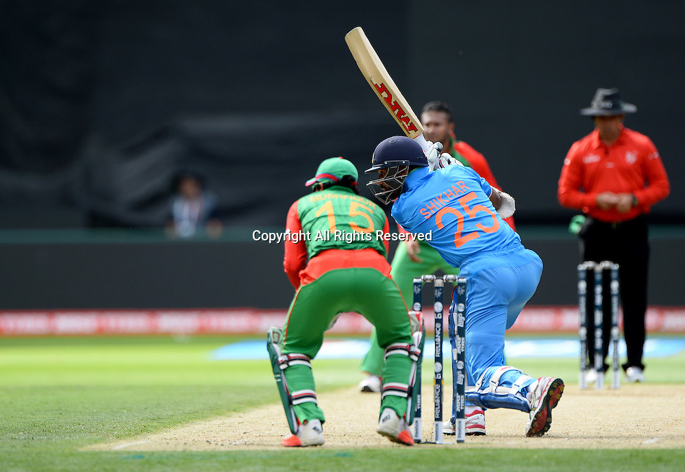 Shikhar Dhawan (Ind)<br /> India vs Bangladesh / Qtr Final 2<br /> 2015 ICC Cricket World Cup<br /> MCG / Melbourne Cricket Ground <br /> Melbourne Victoria Australia<br /> Thursday 19 March 2015<br /> &copy; Sport the library / Jeff Crow