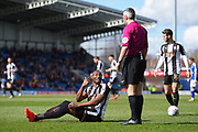 Notts County forward Shola Ameobi (9) appeals to Referee Sebastian Stockbridge during the EFL Sky Bet League 2 match between Chesterfield and Notts County at the b2net stadium, Chesterfield, England on 25 March 2018. Picture by Jon Hobley.