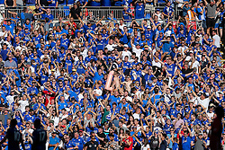 Leicester City fans celebrate in the stands after Jamie Vardy scores an equalising goal to make it 1-1 - Rogan Thomson/JMP - 07/08/2016 - FOOTBALL - Wembley Stadium - London, England - Leicester City v Manchester United - The FA Community Shield.