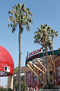 ANAHEIM, CA - JULY 21:  Palm trees blow in the breeze in this general view of the stadium exterior prior to the Los Angeles Angels of Anaheim game against the Texas Rangers on July 21, 2011 at Angel Stadium in Anaheim, California. The Angels won the game in a 1-0 shutout. (Photo by Paul Spinelli/MLB Photos via Getty Images)
