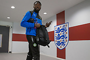 Forest Green Rovers Manny Monthe(3) arrives at Wembley during the Vanarama National League Play Off Final match between Tranmere Rovers and Forest Green Rovers at Wembley Stadium, London, England on 14 May 2017. Photo by Shane Healey.