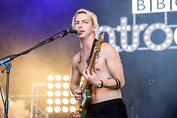 © Licensed to London News Pictures. 27/08/2017. Reading Festival 2017, Reading, UK.The Hunna performing on the BBC Introducing Stage. Lead singer Ryan Potter. Photo credit: Andy Sturmey/LNP