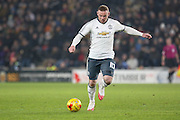 Wayne Rooney Forward of Manchester United lines up a shot at goal during the EFL Cup semi final match 2 between Hull City and Manchester United at the KCOM Stadium, Kingston upon Hull, England on 26 January 2017. Photo by Phil Duncan.