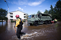 New York Urban Search and Rescue team members, along with members of the N.C. Army National Guard, prepare to evacuate residents at the Heritage at Fort Bragg Apartments in Spring Lake, N.C., Tuesday September 18, 2018. Photo by Julia Wall/Raleigh News & Observer/TNS/ABACAPRESS.COM