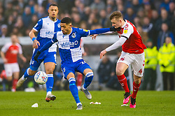 Josh Ginnelly of Bristol Rovers challenges for the ball with Peter Clarke of Fleetwood Town - Mandatory by-line: Dougie Allward/JMP - 25/01/2020 - FOOTBALL - Memorial Stadium - Bristol, England - Bristol Rovers v Fleetwood Town - Sky Bet League One