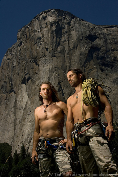 Thomas and Alexander Huber in El Cap Meadows in front the Nose of El Capitan in Yosemite National Park, California, USA.