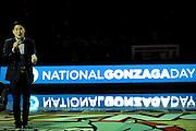 "Woo Kim '12 speaks during the National Gonzaga Day ""Global Education, Global Celebration"" Halftime Program"