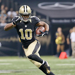 Dec 27, 2015; New Orleans, LA, USA; New Orleans Saints wide receiver Brandin Cooks (10) against the Jacksonville Jaguars during the first quarter of a game at the Mercedes-Benz Superdome. Mandatory Credit: Derick E. Hingle-USA TODAY Sports