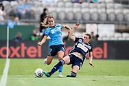 SYDNEY, AUSTRALIA - NOVEMBER 17: Melbourne Victory defender Melina Ayres slide tackles Sydney FC midfielder Angelique Hristodoulou during the round 1 W-League soccer match between Sydney FC Women and Melbourne Victory Women on November 17, 2019 at Netstrata Jubilee Stadium in Sydney, Australia. (Photo by Speed Media/Icon Sportswire)
