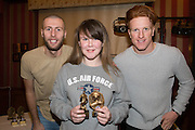 Kama Robb, Monifieth Ladies Fire under 13s top goalscorer pictured with Dundee United's Lewis Toshney and Simon Murray at Monifieth Ladies presentation evening in the Panmure Hotel, Monifieth - Photo: David Young, <br /> <br />  - &copy; David Young - www.davidyoungphoto.co.uk - email: davidyoungphoto@gmail.com