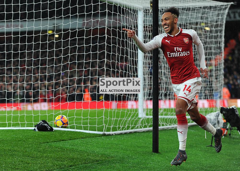 Pierre-Emerick Aubameyang of Arsenal celebrates scoring his sides fourth goal during Arsenal vs Everton, Premier League, 03.02.18 (c) Harriet Lander | SportPix.org.uk