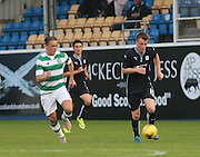 Calvin Colquhoun races away from Scott Allan - Celtic v Dundee - Development League at Cappielow<br /> <br />  - &copy; David Young - www.davidyoungphoto.co.uk - email: davidyoungphoto@gmail.com
