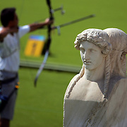 Greek statues were part of the historic site at Panathinaiko Stadium in Athens, Greece during the semifinal men's team match between Chinese Taipei and the United States. Chinese Taipei advanced to the gold medal round.