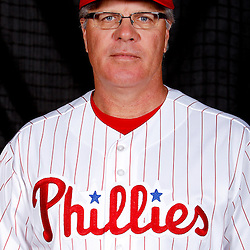 February 22, 2011; Clearwater, FL, USA; Philadelphia Phillies bench coach Pete Mackanin (22) poses during photo day at Bright House Networks Field. Mandatory Credit: Derick E. Hingle