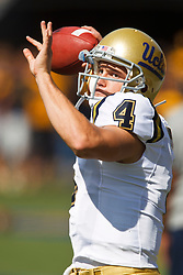 October 9, 2010; Berkeley, CA, USA;  UCLA Bruins quarterback Kevin Prince (4) warms up before the game against the California Golden Bears at Memorial Stadium.