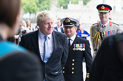 © London News Pictures. 22/06/15. London, UK. Boris Johnson leaves a ceremony to honour UK Armed Forces, Central London. Photo credit: Laura Lean/LNP