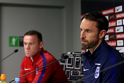 England interim manager Gareth Southgate and Wayne Rooney take questions during the Press Conference ahead of the World Cup Qualifier against Slovenia - Mandatory by-line: Robbie Stephenson/JMP - 10/10/2016 - FOOTBALL - SRC Stozice - Ljubljana, England - England Press Conference