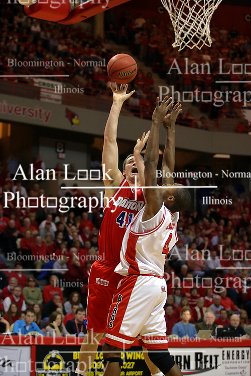 24 March 2008: Kurt Huelsman gets the best of Anthony Slack. The Flyers of Dayton defeated the Redbirds of Illinois State 55-48 on Doug Collins Court inside Redbird Arena in Normal Illinois.