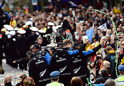 "The Americas Cup and Emirates Team New Zealand welcome home parade heads downtown, Auckland, New Zealand, Thursday, July 06, 2017. Credit: SNPA / Marty Melville  ""NO ARCHIVING"""