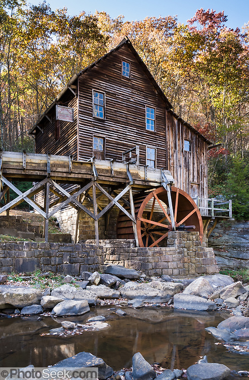 Glade Creek Grist Mill, Babcock State Park, New River Gorge, Fayette County, West Virginia, USA. The popular Glade Creek Grist Mill is a replica of the original Cooper's Mill that was located nearby. The current grist mill, completed in 1976, was assembled from parts of three other West Virginia mills. The Glade Creek Grist Mill as a living, working monument to the more than 500 mills formerly running throughout the state.
