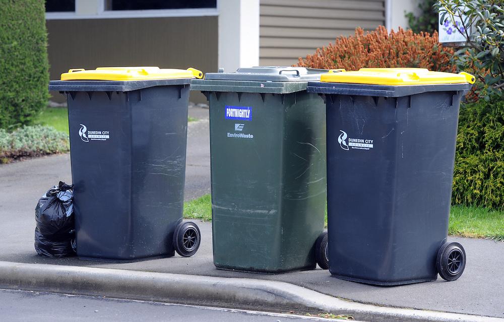 Wheelie bins, recycle bins, rubbish, garbage bins, Dunedin, New Zealand, Wednesday, September 12, 2012. Credit:SNPA / Ross Setford