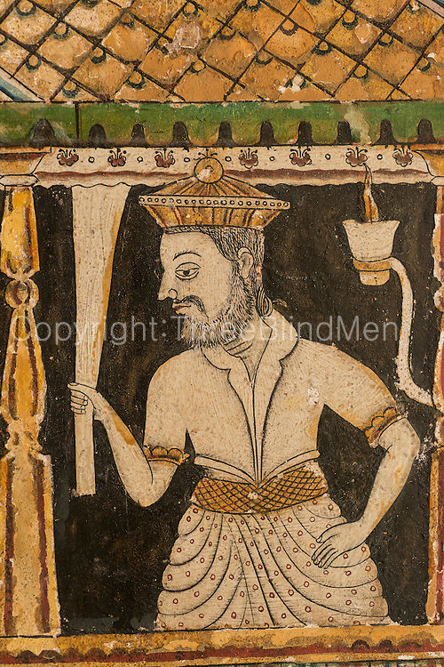 Shailabimbarama Buddhist Temple. Dodanduwa. The wall of this temple have some of the finest examples of temple mural painting.<br /> Shailabimbarama Buddhist Temple in Dodanduwa. Painting of the Temple of the Tooth in Kandy or Dalada Maligawa on the wall of the temple.