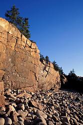 Acadia N.P., ME. Monument Cove. Cobble beach. Atlantic Ocean.  Ocean Drive.