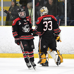TORONTO, ON  - APR 10,  2018: Ontario Junior Hockey League, South West Conference Championship Series. Game seven of the best of seven series between Georgetown Raiders and the Toronto Patriots. Bailey Molella #11 celebrates the goal with Troy Timpano #33 of the Georgetown Raiders during the first period.<br /> (Photo by Andy Corneau / OJHL Images)