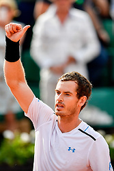 PARIS, June 2, 2017  Andy Murray of Britain greets the audience after the men's singles 2nd round match against Martin Klizan of Slovakia at the French Open Tennis Tournament 2017 in Paris France on June 1, 2017. Andy Murray won 3-1. (Credit Image: © Chen Yichen/Xinhua via ZUMA Wire)