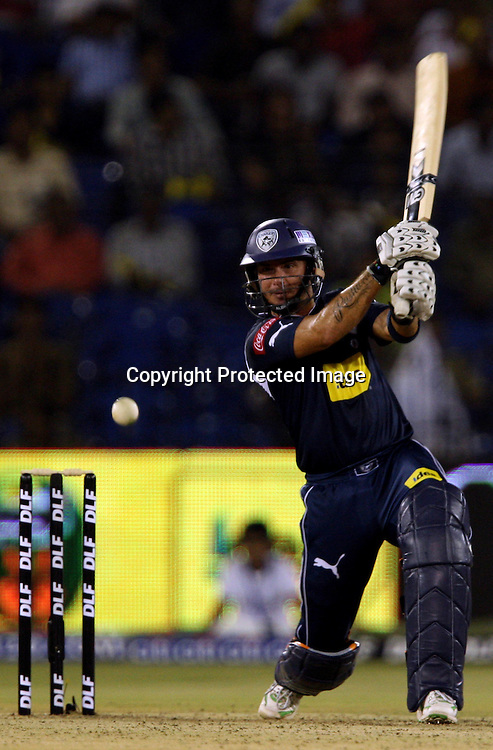 Deccan Chargers Batsman Herschelle Gibbs Hit The Shot Against Kings XI Punjab During The DLF IPL-3 Twenty-20 Played at- Barabati Stadium , Cuttack 19 March 2010 Day/night