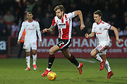 Harry Pell and Sean McConville during the EFL Sky Bet League 2 match between Cheltenham Town and Accrington Stanley at LCI Rail Stadium, Cheltenham, England on 13 January 2018. Photo by Antony Thompson.