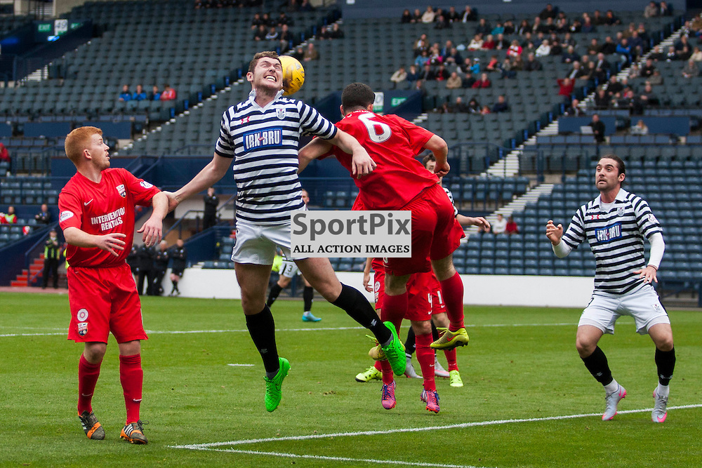 Goalmouth action with Queen&rsquo;s on the attack late in the Queen's Park v Montrose SPFL2 at Hampden Park on 03 October 2015<br />