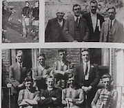 """left: the toss in 1926. Referee, P McCullagh Wexford, Dick Grace (Kilkenny) and Sean Og Murphy (Cork). .right: On the 29th August 1926 the first sports event to be broadcast in Europe by 2RN (Radio Eireann) was the All-Ireland Semifinal between Kilkenny and Galway. The commentator was P  D Mehigan better known as """"Carbery"""". Carbery was on the 1902 London team that lost the 1902 hurling final to Cork. The photo shows John Walsh, Chairman of Thurles Grounds, Tom Semple (Thurles Blues), Phil O'Neill """"Sliabh Rua"""" (Kilkenny Journal), P D Mehigan """"Carbery"""". .bottom: The three Meagher brothers, Lory, Henry and Bill, were on the Kilkenny team in 1926. Back Row: Willie Maher, Martin Power, Lory Meagher, Denis Grace. Front Row: Henny Meagher, Fr Lyng, Dick Grace, Bill Meagher."""