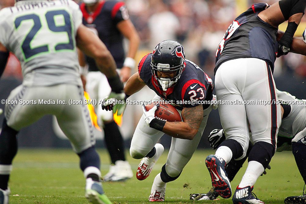 September 29, 2013: Houston, TX, USA - Houston Texans running back Arian Foster (23) carries the ball during the first quarter at Reliant Stadium in Houston, Texas, Sunday, September 29, 2013