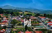 Elevated View Of The Iglesia de San Rafael And Surrounding Area Of The Town Of Zarcero, Costa Rica.