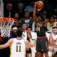 07 January 2018: Atlanta Hawks guard Kent Bazemore (24) takes a jump shot over Los Angeles Lakers center Brook Lopez (11) during the LA Lakers 132-113 victory over the Atlanta Hawks, at the Staples Center, Los Angeles, California, USA.