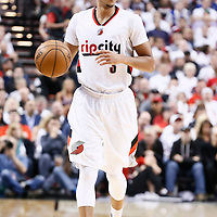 25 April 2016: Portland Trail Blazers guard C.J. McCollum (3) brings the ball up court during the Portland Trail Blazers 98-84 victory over the Los Angeles Clippers, during Game Four of the Western Conference Quarterfinals of the NBA Playoffs at the Moda Center, Portland, Oregon, USA.