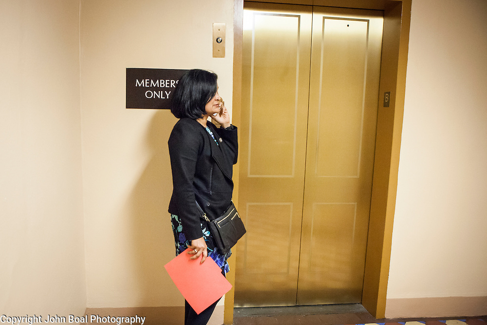 """Representative Pramila Jayapal (D-WA, 7), waits for the elevator to the United States Capitol to support the introduction of H.R 724 by Rep. Zoe Lofgren (D-CA) to """"revoke President Trump's January 27, 2017 executive order...[and] block funding for any enforcement of the order,"""" on Tuesday, January 31, 2017.  John Boal photo/for The Stranger"""