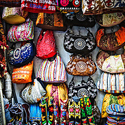 Brightly colored fabric bags for sale in Istanbul's historic Grand Bazaar