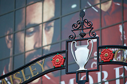 LIVERPOOL, ENGLAND - Tuesday, September 18, 2018: An image of Liverpool's Mohamed Salah looks down on a European Cup featured on the Paisley Gates outside Anfield before the UEFA Champions League Group C match between Liverpool FC and Paris Saint-Germain. (Pic by David Rawcliffe/Propaganda)
