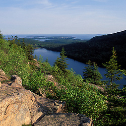 Acadia N.P., ME. View from South Bubble. Jordan Pond. Spring.