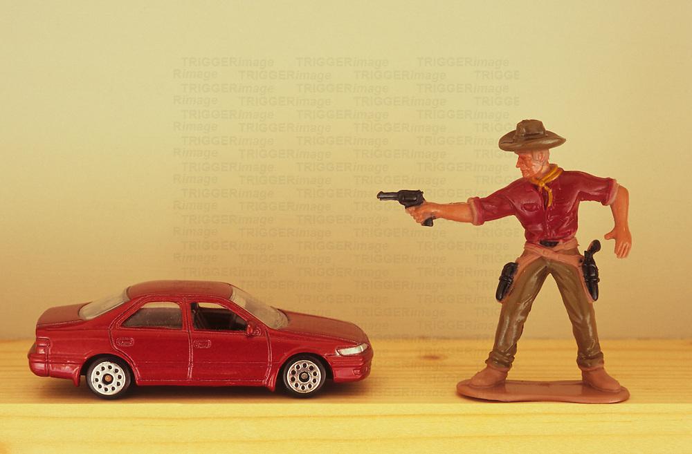 Cowboy threatens car