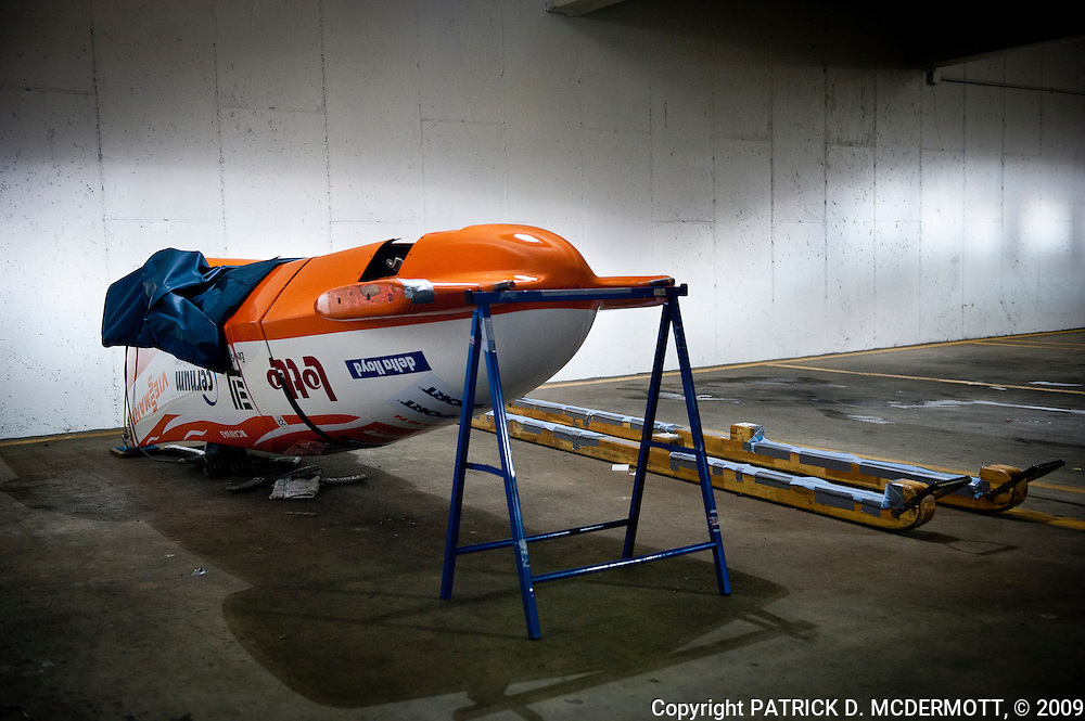 A bobsled sits in a hotel parking lot before the FIBT Bobsled and Skeleton World Cup Park City in Park City, Utah on Friday, November 13, 2009.