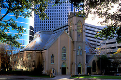 Stock photo of Antioch Missionary Baptist Church in downtown Houston Texas