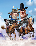 Caricature: The Dude takes on The Duke. Jeff Bridges takes on the role of a tough U.S. Marshal in True Grit, a role made famous by John Wayne. 3D modeling and Photoshop. Originally created for Penthouse Full Frontal Entertainment Review.