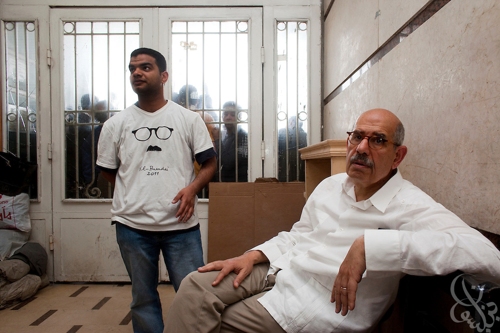 Egyptian Nobel Peace laureate and former UN atomic watchdog chief, Mohamed ElBaradei waits in a building lobby for his vehicle following two public appearances in the Egyptian Nile delta town of El Mansoura April 2, 2010. ElBaradei is thought to be a possible candidate to run against Egyptian President Hosni Mubarak in the 2011 presidential election, although he has not made a formal declaration as of yet.